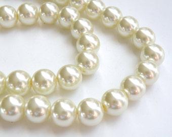Ivory glass pearl beads round 12mm full strand 1979GL