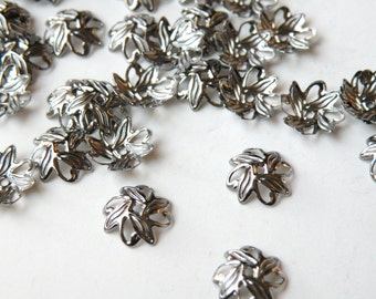 50 Leaves Bead caps shiny gunmetal plated brass 10mm (fits 8-10mm) A5583FN