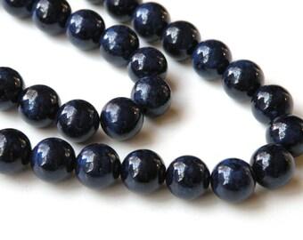 Riverstone beads in navy blue round gemstone 10mm full strand 4306GS