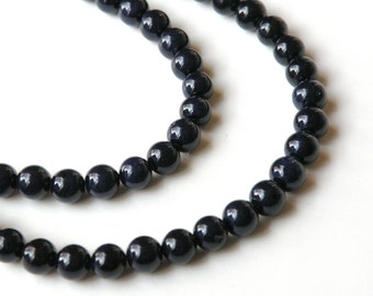 Riverstone beads in navy blue round gemstone 6mm full strand 4290GS