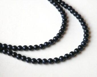 Riverstone beads in navy blue round gemstone 4mm full strand 4282GS