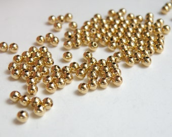 100 Round ball spacer beads smooth shiny gold plated brass 3mm 1477MB