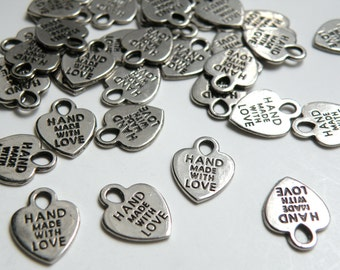 20 Heart charms Hand Made with Love engraved Antique Silver 16x12mm CC1975-79