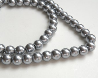 Silver gray glass pearl beads round 8mm full strand 7773GB