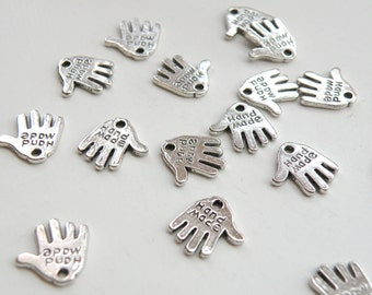 20 Hand charms Hand Made antique silver plated 12x12mm PALLOYE380