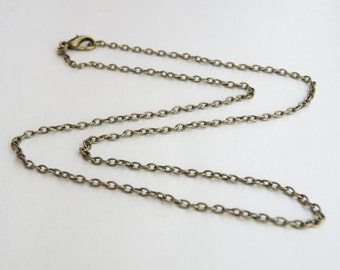 2 Cable 18 inch finished chains with lobster claw clasp necklaces 3x2mm links antique bronze DB14104