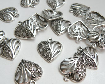 10 Swirly heart charms antique silver plated 22x19mm DB08736