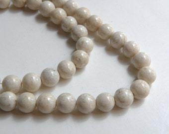 Natural Riverstone in natural ivory almond round gemstone 8mm full strand 4292GS