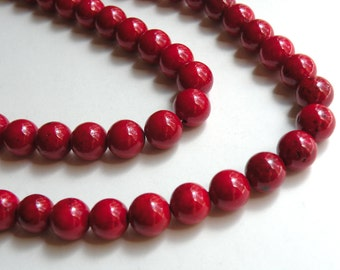 Riverstone beads in beet red round gemstone 10mm full strand 4304GS