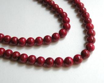 Riverstone beads in beet red round gemstone 6mm full strand 4288GS
