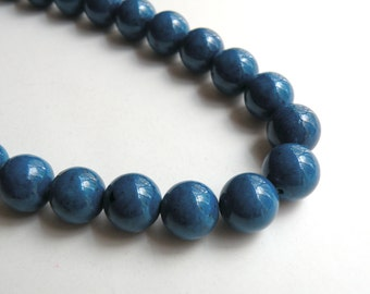 Riverstone beads in blue round gemstone 12mm full strand 4311GS