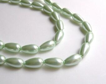 Mint Green glass pearl teardrop pendant bead 17x8mm full strand 7862GB