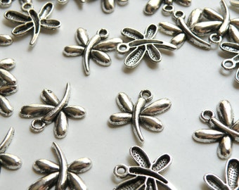 10 Large Modern Dragonfly charms antique silver plated 22x19mm KA11189