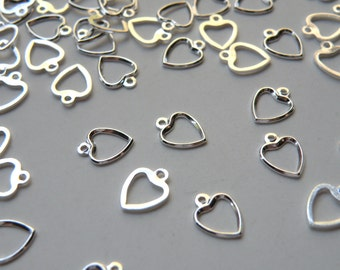 20 Simple little open heart charms shiny silver plated brass 10x7mm 7585FD