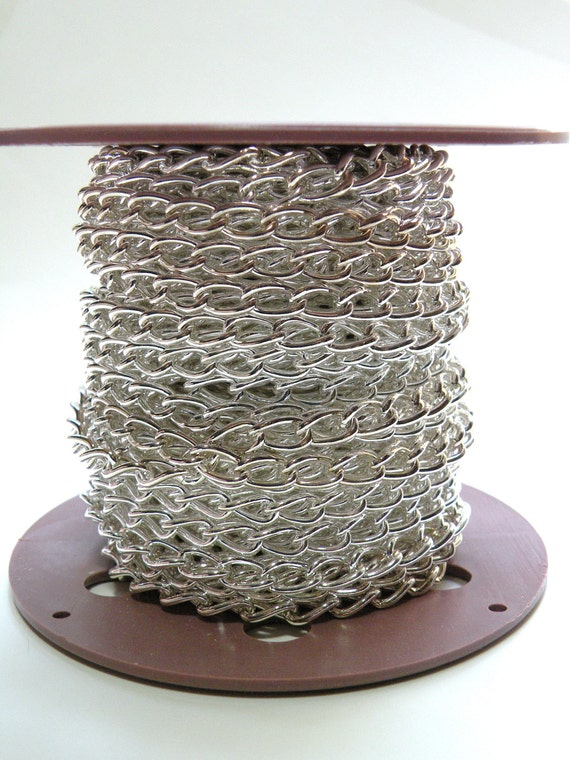 Chunky twisted cable 5 feet chain silver plated steel 11x6mm links 1322CH