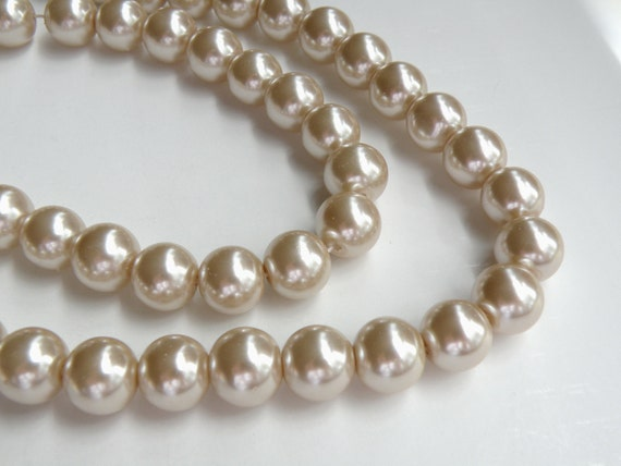 Beige glass pearl beads round tan or taupe 12mm full strand 7815GB