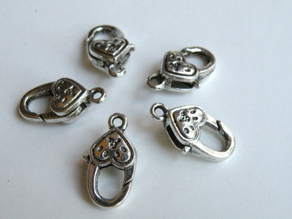 5 Heart lobster claw clasps antique silver 21x12mm K18
