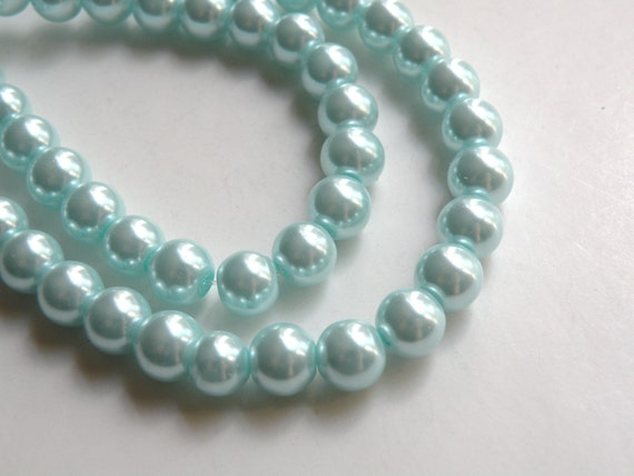 Turquoise blue glass pearl beads round 8mm full strand 7766GB