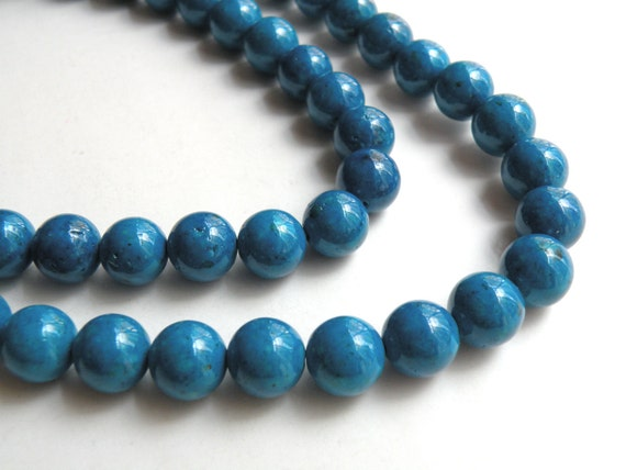 Riverstone beads in blue round gemstone 10mm full strand 4303GS