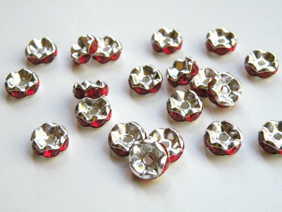 20 Red rhinestone rondelle spacer beads 8x4mm DB09005-R
