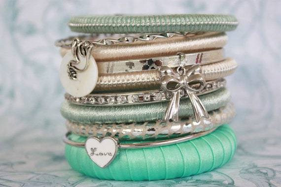 Mint Green Cream Wrap Bangle Bracelet Stack with Ribbon and Bird Charms - Pack of 10
