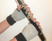 Fingerless Gloves, Black and Gray, Handknit, 100% Wool