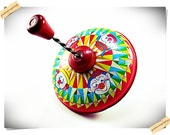 J Chein Clown Tin Spining Top