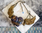 angel wing necklace -  neo Victorian steam punk