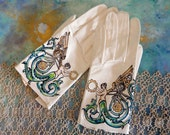 Steam Punk Angel leather gloves- size Small Med Dramatic hand painted art for your hands