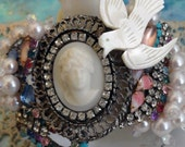 rhinestone cuff - victorian dove and vintage assemblage