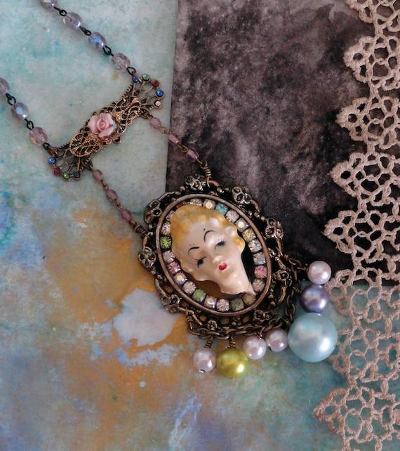 victorain lady repurposed necklace- vintage porcelain and rhinestones