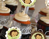 Monkey Cupcake Toppers INSTAND DOWNLOAD Printable Digital File