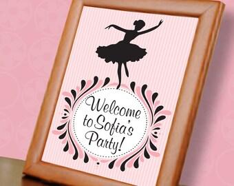 Twirling Ballerina Custom Welcome Sign