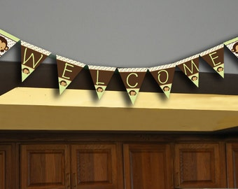INSTANT DOWNLOAD Monkey Decorations Banner