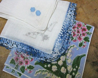 Trio of Vintage Hankies, Print, Crochet, and Embroidery