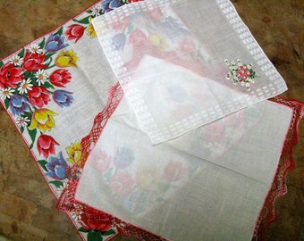 Vintage Hanky Trio, Floral Print, Embroidery, Crochet Lace