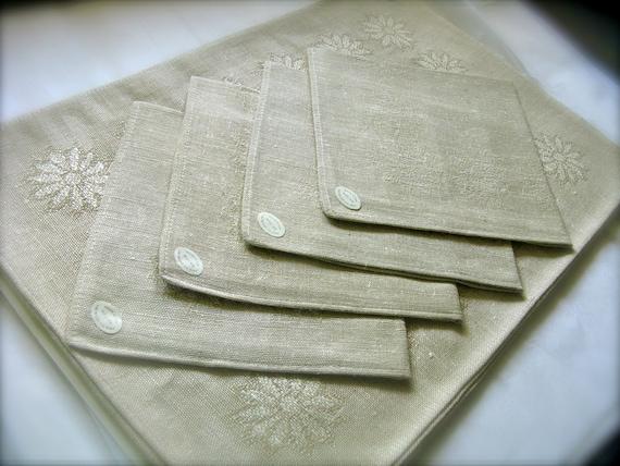 Mid Century Placemat & Napkin Set, Belgian Linen