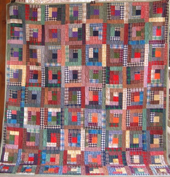 Plaid Log Cabin Full Sized Bed Quilt