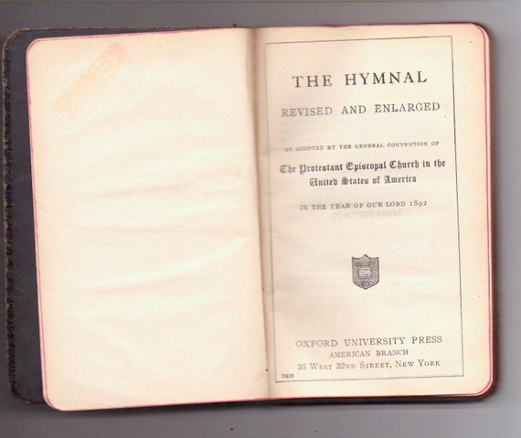 Episcopal Hymnal With Leather Cover 1892