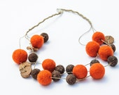 Beaded  Chunky Necklace Multi-strand Foxy Orange Brown