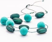 Extra Long Blue Beaded Necklace No Clasp Chunky Felted Wooden Necklace Tuquoise Blue