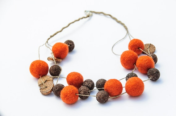 Beaded  Chunky Necklace Multi-strand Foxy Orange Brown