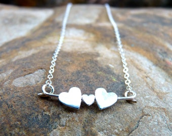 Family Necklaces, Heart Family of Three sterling silver Necklace by Sparrow Seas handmade in Maui, Hawaii