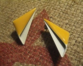 Vintage Yellow & White Folded Metal 'Modern Sails' Earrings