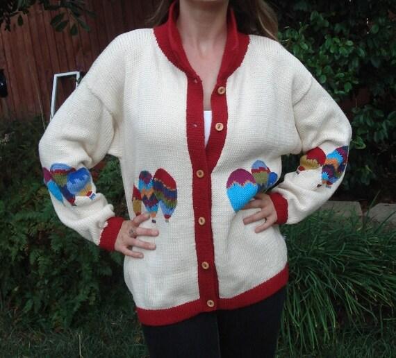 Hot Air Balloon - Vintage Knit Oversized Cardigan Sweater - Women's Medium