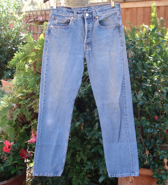 1980s Levi's Distressed Denim Jeans - Button Up Fly - Style 501XX - W 31 L 32 - USA