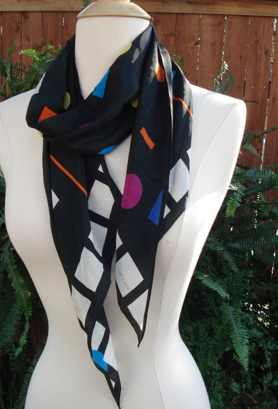 1980s Albert Nipon Contemporary Geometric Long Tapered Silk Scarf 55 x 10