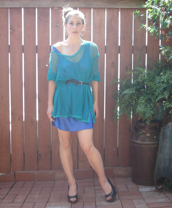 1980s Teal Mesh / Netted Oversized Party / Rave Top - Unisex