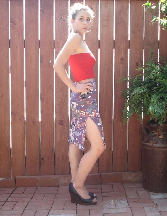 1990s Geisha Print Body Con Wiggle Skirt w High Side Slits / Women's Size XS-Small