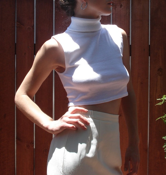 White Knit Crop Turtleneck / Sleeveless Crop Top / Women's Size Small-Large